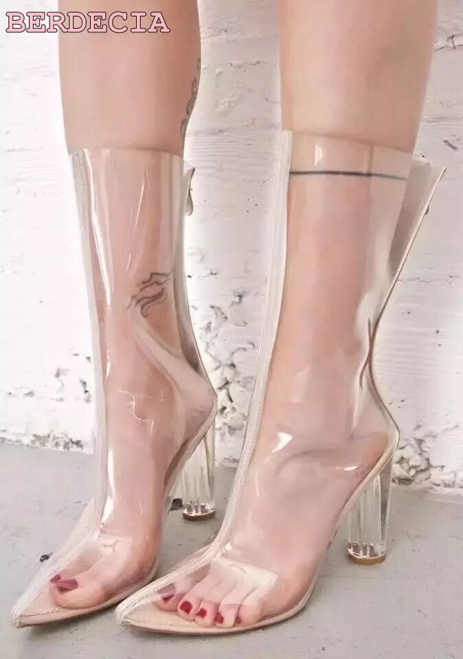 2017 summer newest Unique designer cool transparent leather boots pointed toe mid calf boots sweet women chunky heel shoes