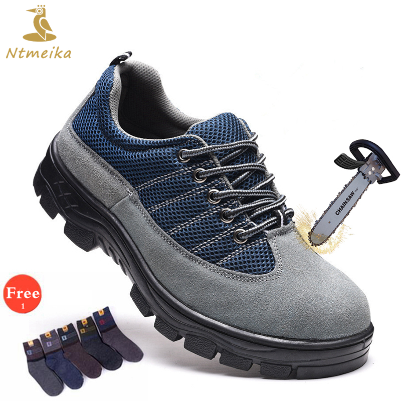 Plus Size 37-46 Men Safety Shoes Steel Toe Steel Insole Cow Suede Safety Boots Men Lace Up Breathable Casual Safe Toe Work Shoes