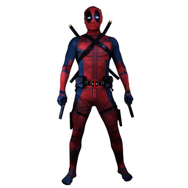 2018 Deadpool Trang Phục Dành Cho Người Lớn Người Đàn Ông Spandex Lycra Zentai Bodysuit Halloween Cosplay Vành Đai Phù Hợp Với Mũ Nón Mặt Nạ Thanh Kiếm bao da