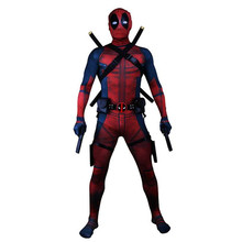 Deadpool Costumes Adult Man Spandex Lycra Zentai Bodysuit Halloween Cosplay Suit Belt Headwear Mask Sword holster(China)