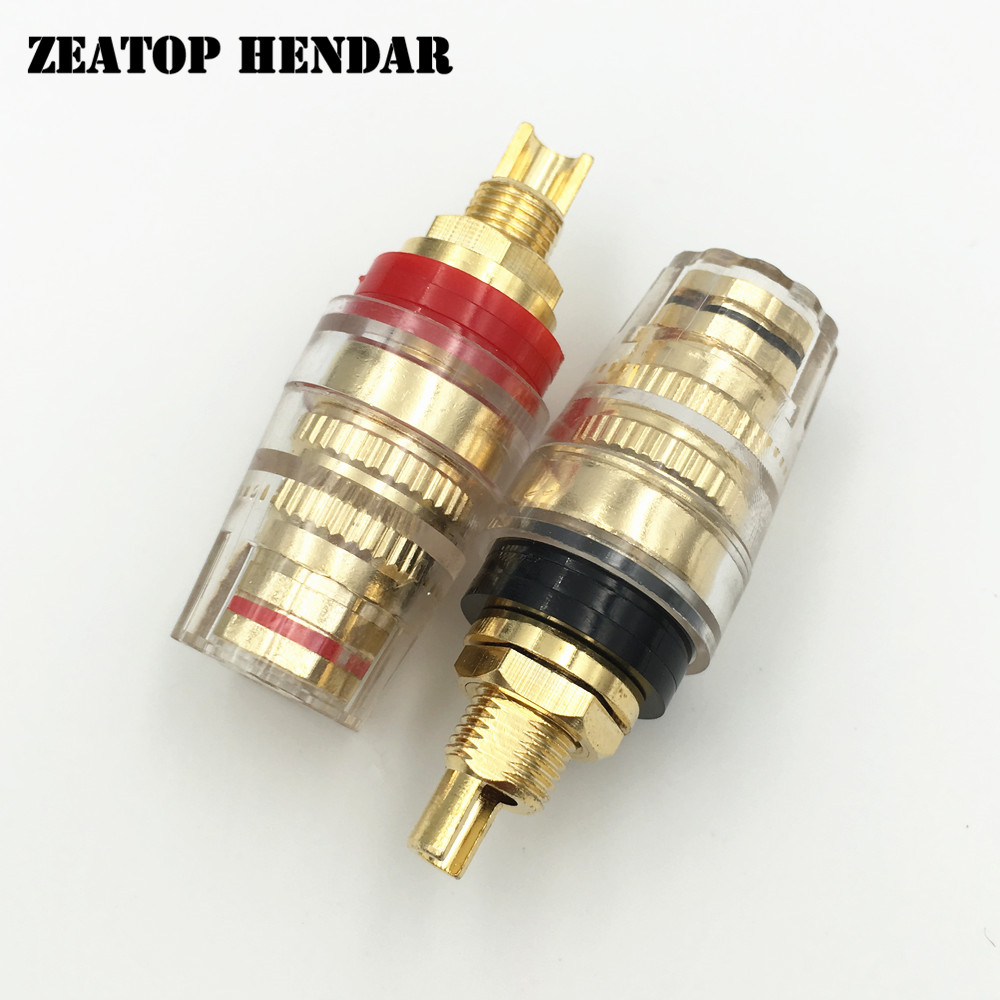 20Pcs Brass Gold plating Audio Terminal Binding Post Socket Connector for Speaker Amplifier 4MM Banana Plug Red Black-in Connectors from Lights & Lighting    1