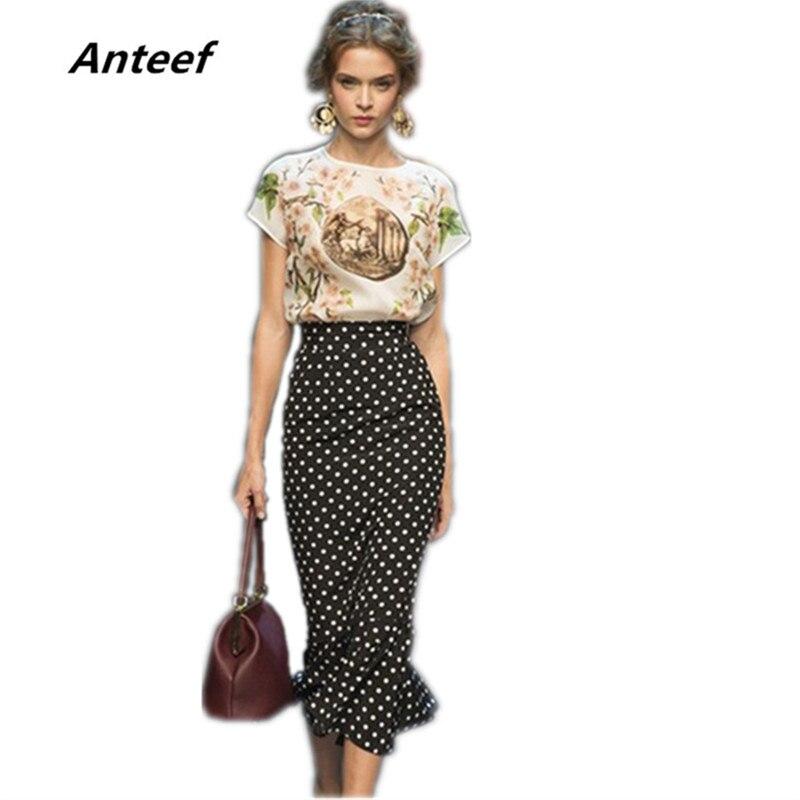 Anteef Fashion Plus Size Black Summer Dot 209 High Waist Saias Femininas Casual Long Pencil Skirt Women Skirts Female