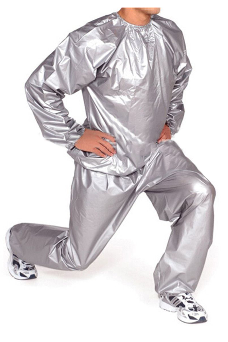 Heavy Duty Fitness Weight Loss Sweat Sauna Suit Exercise Gym Anti-Rip Silver