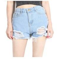 HAPPY WALK 2017 Ripped Pocket Women Shorts Summer Casual Denim Shorts Vintage Hot Shorts Denim Shorts