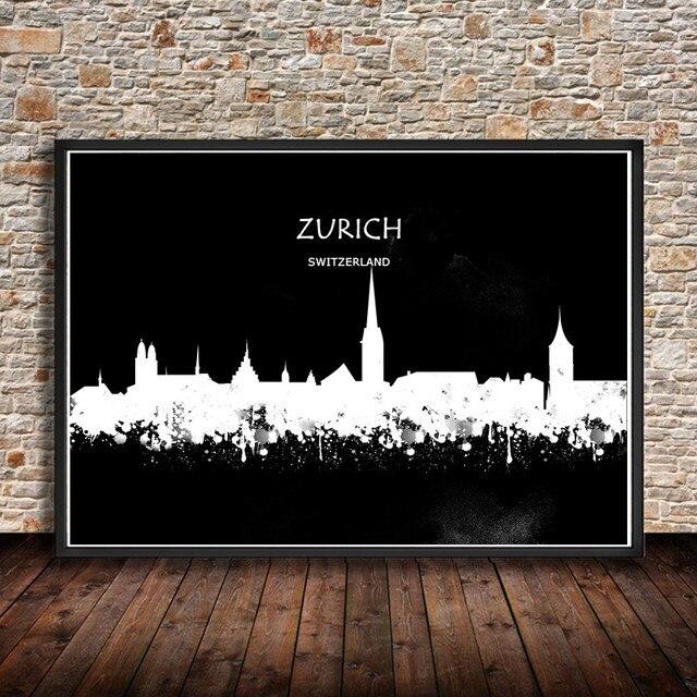 Abstraktes Aquarell Malerei Zürich Schweiz City Building Print