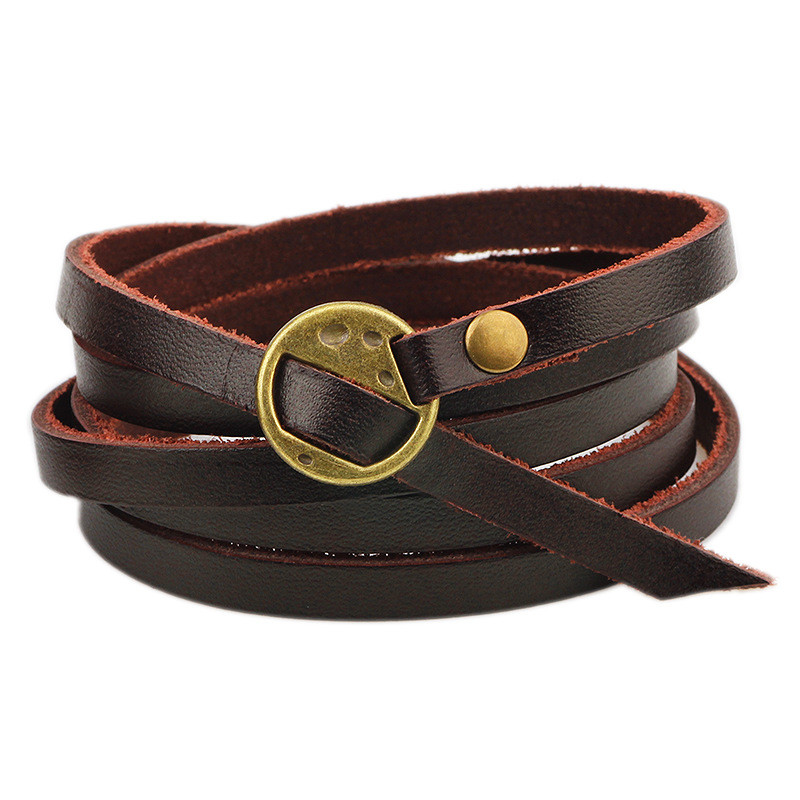 2018 new style multi-circle pressure word real cowhide leather unisex bracelet cowboy style punk single product wristband