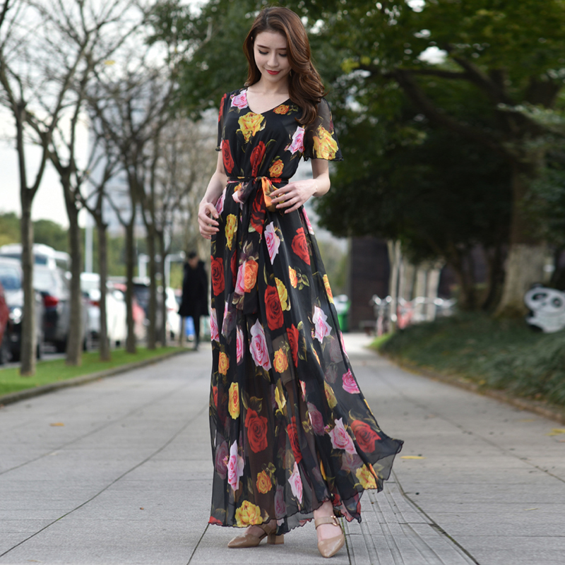 a75a90be092b2 Flowy Floral Long Dresses Floor length Country Beach Wedding Guest Party Dress  Plus size maternity Holiday