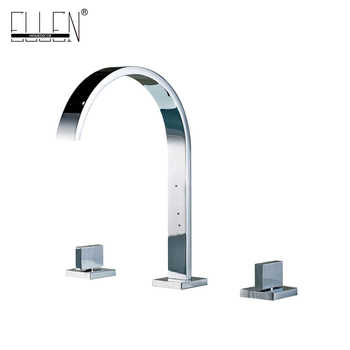 Deck Mounted Double Handle Bathroom Sink Mixer Crane Hot and Cold Water Taps 3 Pieces Square Bathroom Faucets 3 hole EL5109 - Category 🛒 All Category