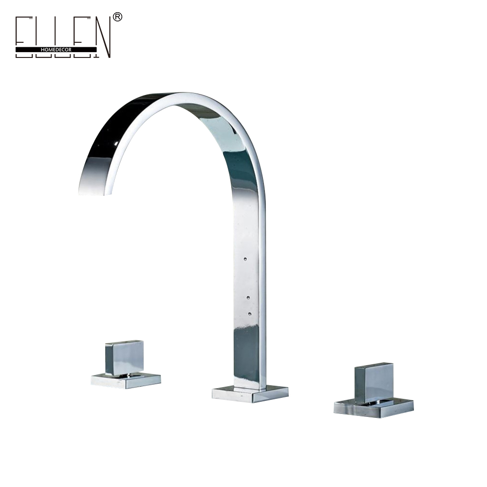Buy Deck Mounted Double Handle Bathroom Taps Square Bathroom Faucets 3 Hole