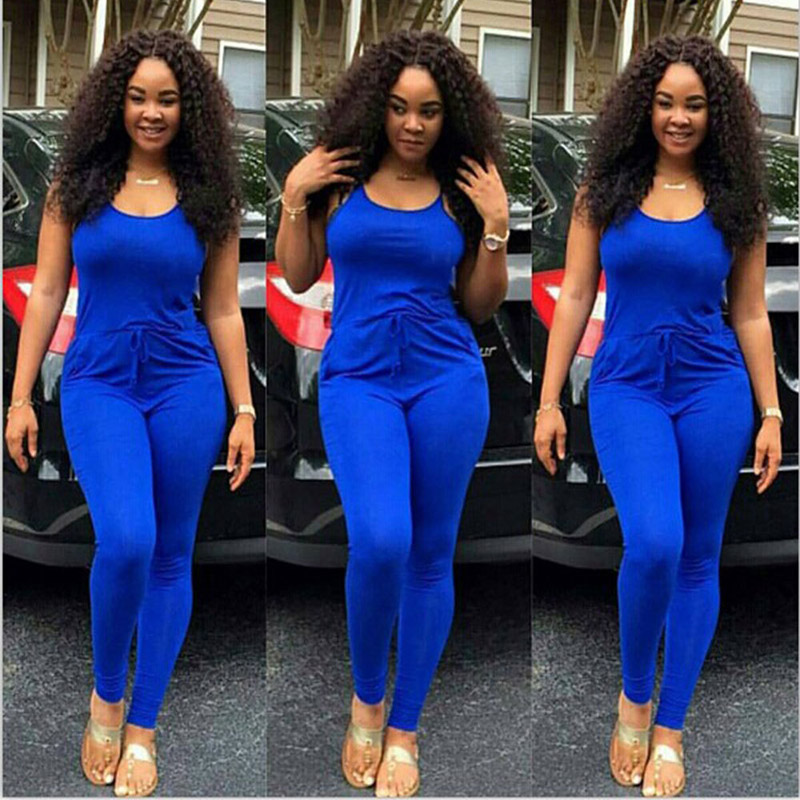 JENYAGE Rompers Womens   Jumpsuit   New Arrival 2019 Summer Runway Sexy Sleeveless Straps Skinny Long Pants Party Blue   Jumpsuit