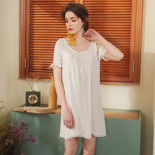 Wasteheart Women Fashion White Cotton Sexy Sleepwear Round Neck Nightdress Lace Nightwear Sleepshirts Nightgown Night