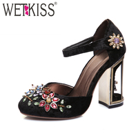 WETKISS 2018 Retro Floral Pleuche Shoes Women Pumps Luxurious Cutouts Bird Cage High Heel Crystal Female Vintage Pumps Big Size