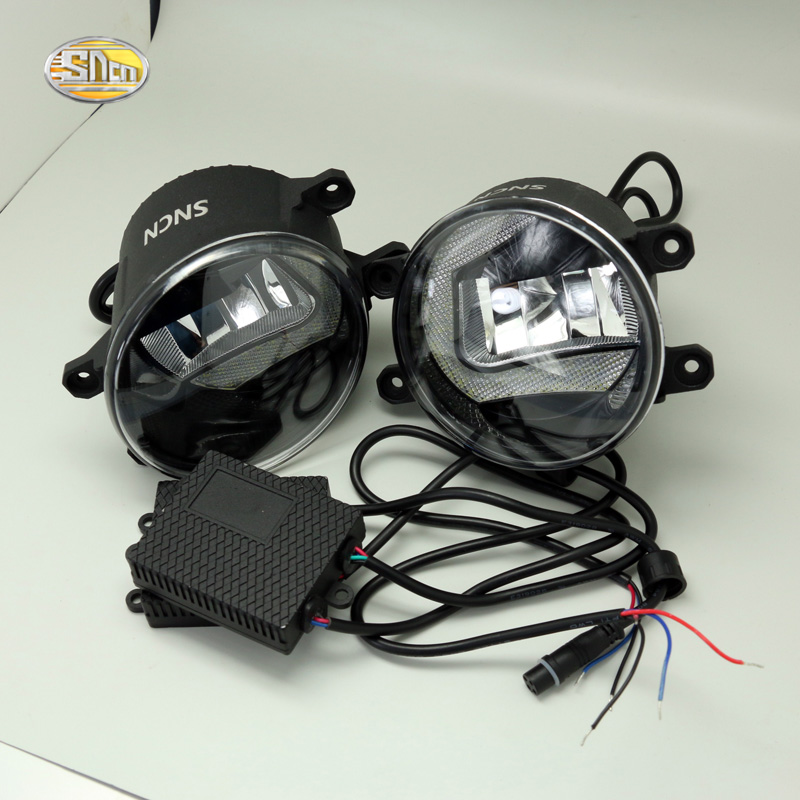 SNCN LED Fog lamp for Toyota Yaris Puris Verso Matrix Avalon Corolla Auris Daytime Running Lights Stainless steel base glass