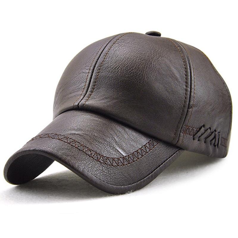 Mens Baseball Cap Golf Ball Sports Cap Autumn Winter PU Leather Peaked Sun Hat Outdoor Casual Adjustable Bone PU Hats for Men
