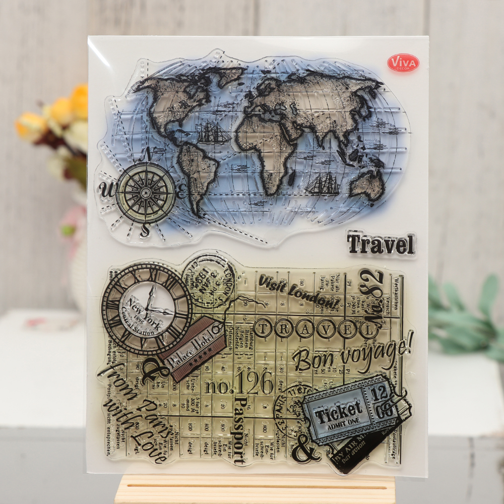World Map Clear Silicone Stamps Set DIY Scrapbooking Crafts