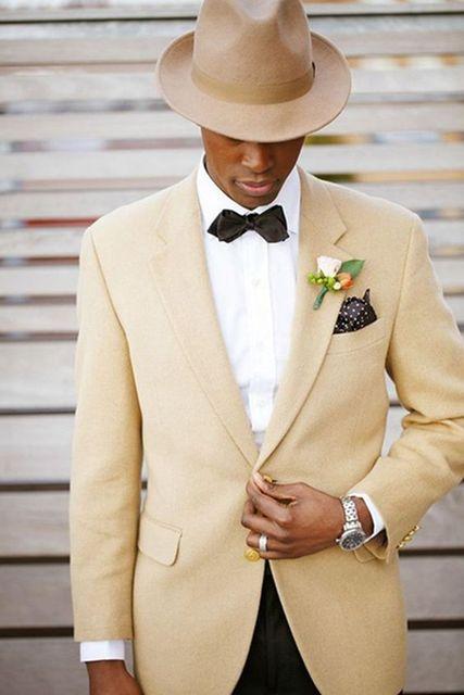 Custom Made New Design Melhor Formais Jaqueta Cáqui Preto Calças dos homens Casamento Smoking Do Noivo Padrinhos Partido Prom Terno Blazers