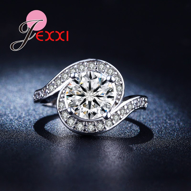 Jemmin New Arrival Silver Rhinestone White Shiny Crystal Women Engagement Promise Rings Fashion Lady Finger Jewelry Wholesale