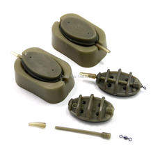 SAMS FISHING Inline Method Feeder and Quick Release Mould Carp Fishing Terminal Tackle Accessories- 4 Feeders and 2 Moulds