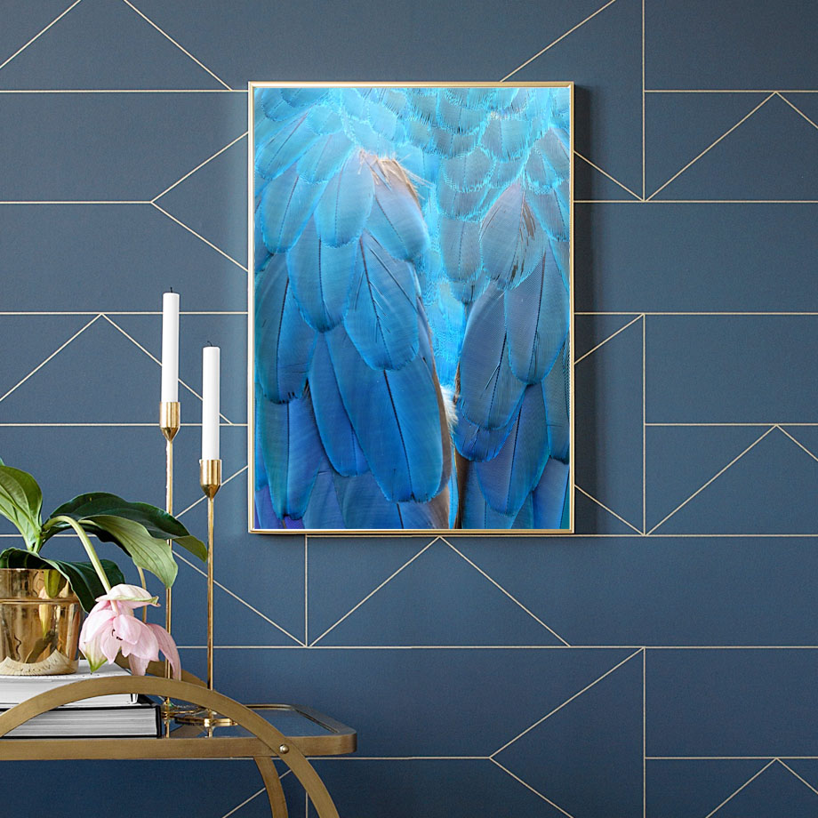 Canvas Art Print Blue Feather Pop Art Nordic Posters And Prints Wall Art Paintings For Living Room Wall Pictures Salon Office in Painting Calligraphy from Home Garden