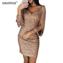 efa0fedb4546a Sexy gold sequined bodycon dress Women v neck pencil mini dress Winter  elegant Tassel lantern sleeve party dress vestidos 2019
