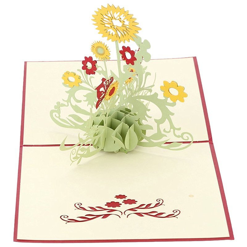 2018 Newest 3d Pop Up Greeting Cards Sunflower Thank You Card For