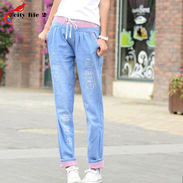 New Spring Summer 2016 Loose Jeans Large Casual Pants Elastic Waist Pants Cute Printed Women Denim Harem Pants Blue Red Cuffs