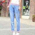 Nueva Primavera Verano 2016 Pantalones Vaqueros Flojos Grandes Pantalones Casuales Elástico Pantalones de cintura Linda Impresa de Las Mujeres Pantalones Harem Denim Azul Rojo puños
