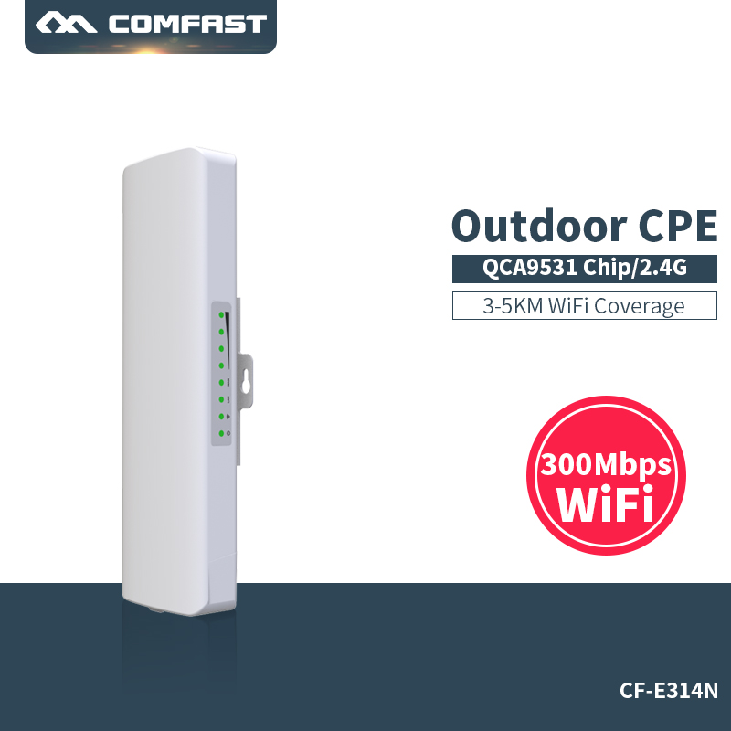 Comfast CF-E314 2.4G outdoor CPE bridge long range 300M Signal Booster extender 3km Wireless AP 2*14dbi wifi repeater nanostatio