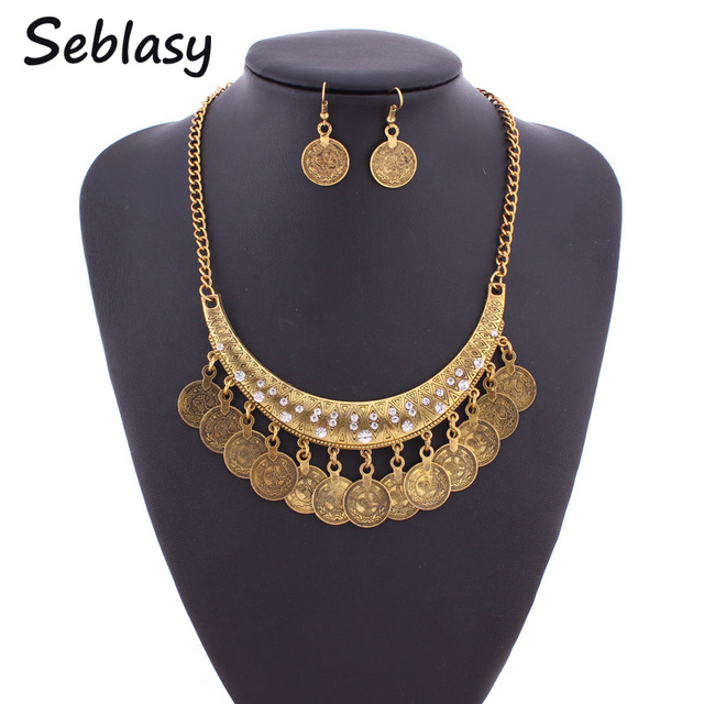 Seblasy Jewelry Sets Shiny Crystal Antique Gold Color Moon Coin Tassels Collar Necklaces & Pendants Earrings For Women Party