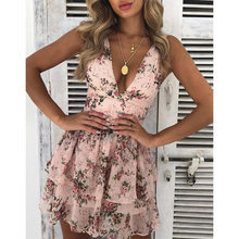 2019 Summer Dress Women Beach Dresses Deep V-Neck Floral Print Chiffon Short Bohemia Dress Sleeveless Cupcake Women Dress(China)