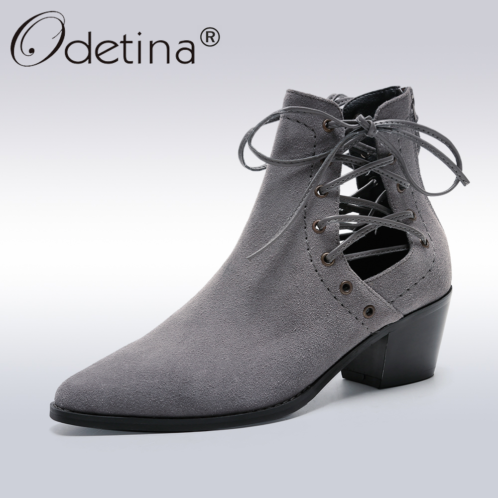 Odetina Classic Cow Suede Ankle Boots Women Sexy Pointed Toe Lace-Up Gladiator Boots Lady  2017 Autumn New Riding Booties настольные игры стиль жизни настольная игра доббль