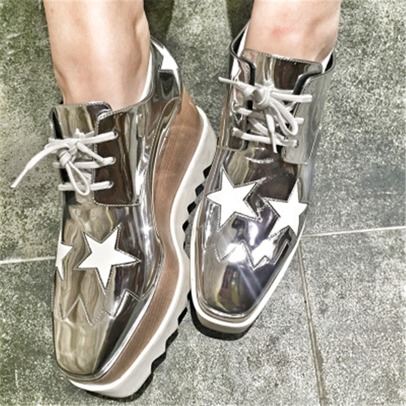 Metallic Silver Gold Stars Chunky Sneaker High Platforms Casual Shoes Lace Up Trainers Runways Street Women Shoes tenis feminino