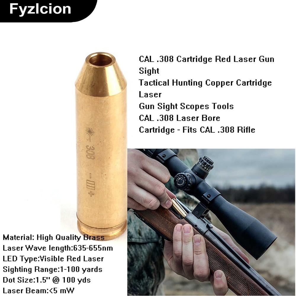 Tactical Gun Bore Sight CAL .308 Cartridge Red Laser Brass Gun Sight For Air Gun Rifle Scope Hunting Accessory