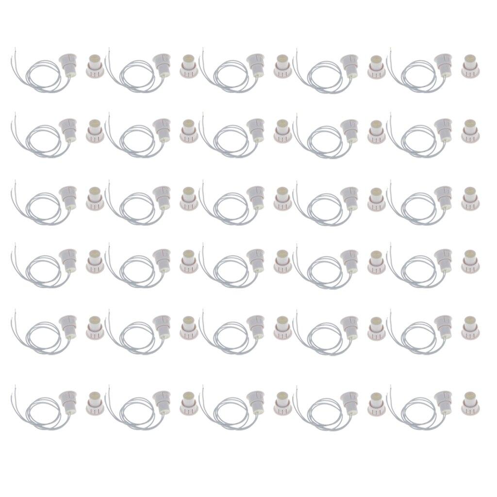 Paquet de 30 Contacts de fenêtre de porte magnétique encastrés sirène d'alarme interrupteur à lames blanc