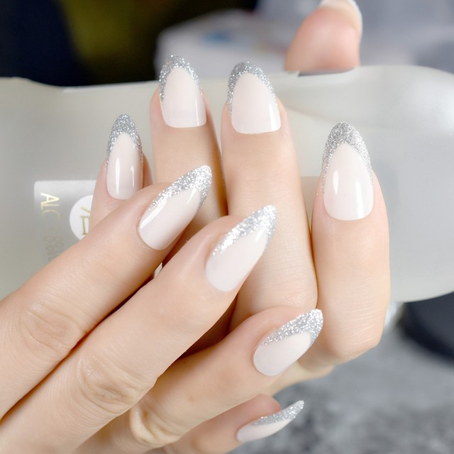 Online Shop Beige STILETTO Shape Fake Nails Silver Glitter Point ...