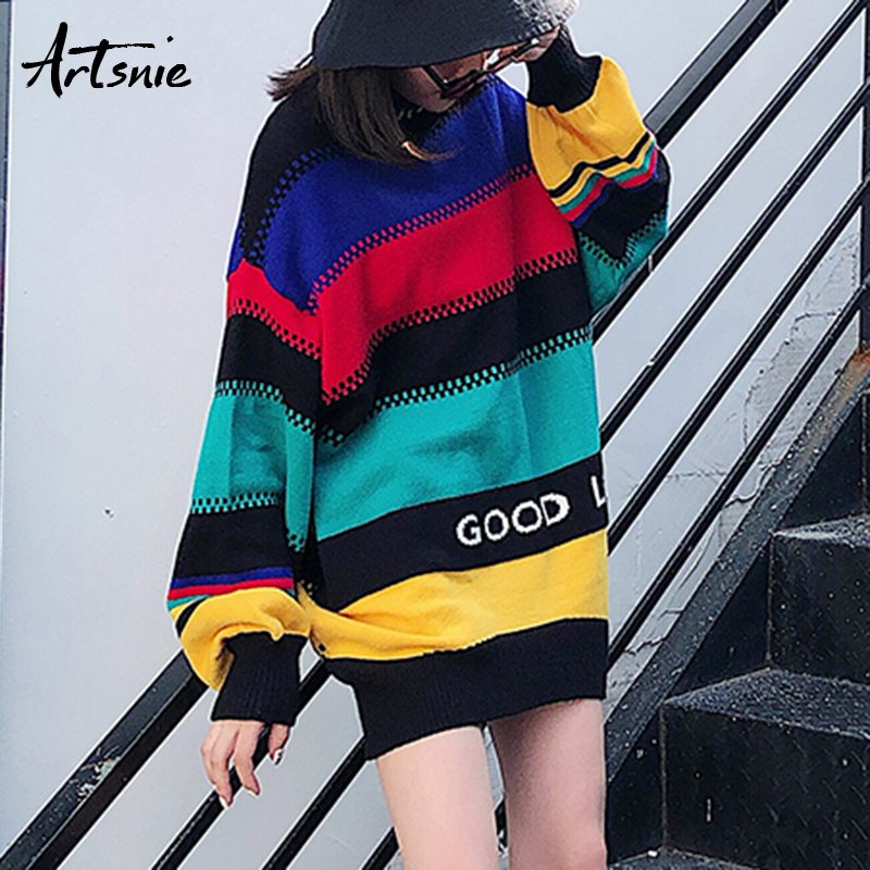 Artsnie Color Patchwork Streetwear Turtleneck Knitted Pullovers Women Autumn 2018 Letter Casual Girl Sweaters Striped Pull Jumpe