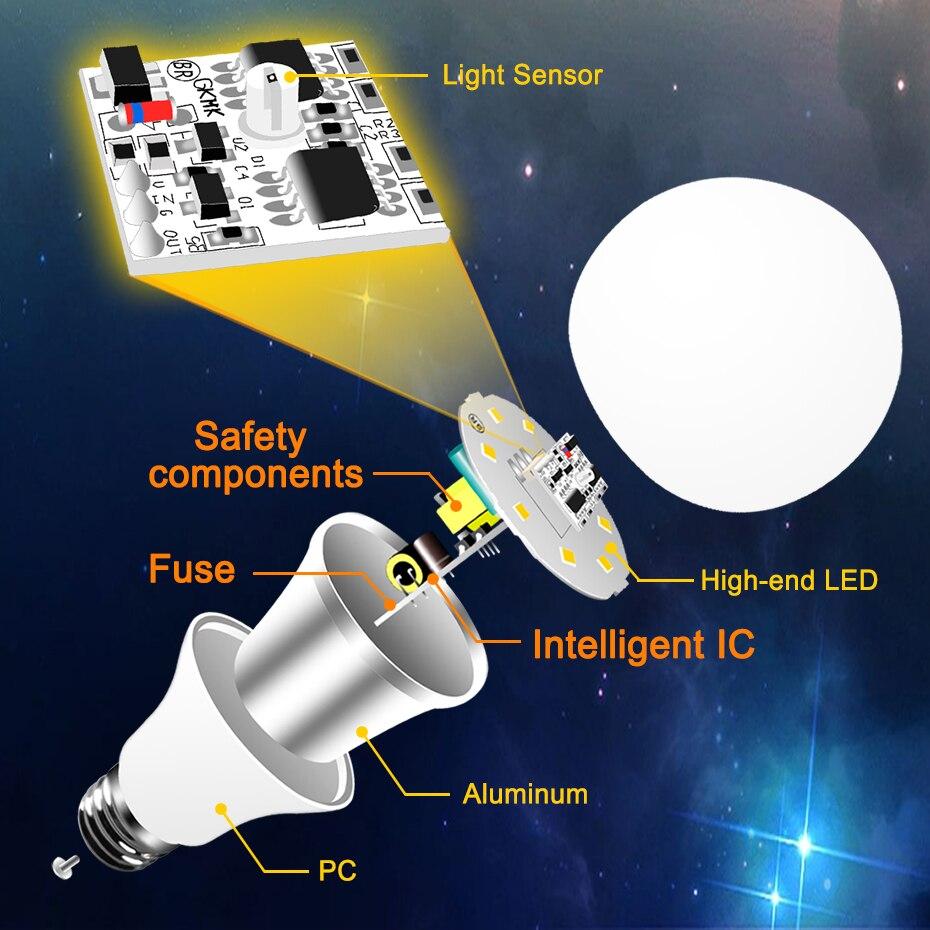 Image 4 - Led E27 スマート照明 Led 電球 Led E27 電球センサーランプ夕暮れにダウンライト自動オン/オフ屋内 /屋外夜の光    グループ上の ライト