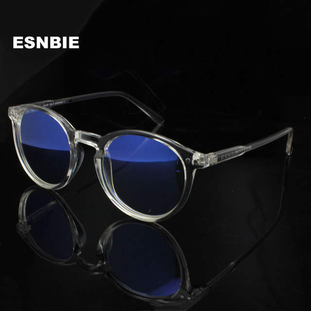 3cb012e8b5 Online Shop ESNBIE Mens Vintage Round Glasses Frames Anti Blue Ray  Computers Glasses Women Transparent Glasses Oculos De Grau Masculino