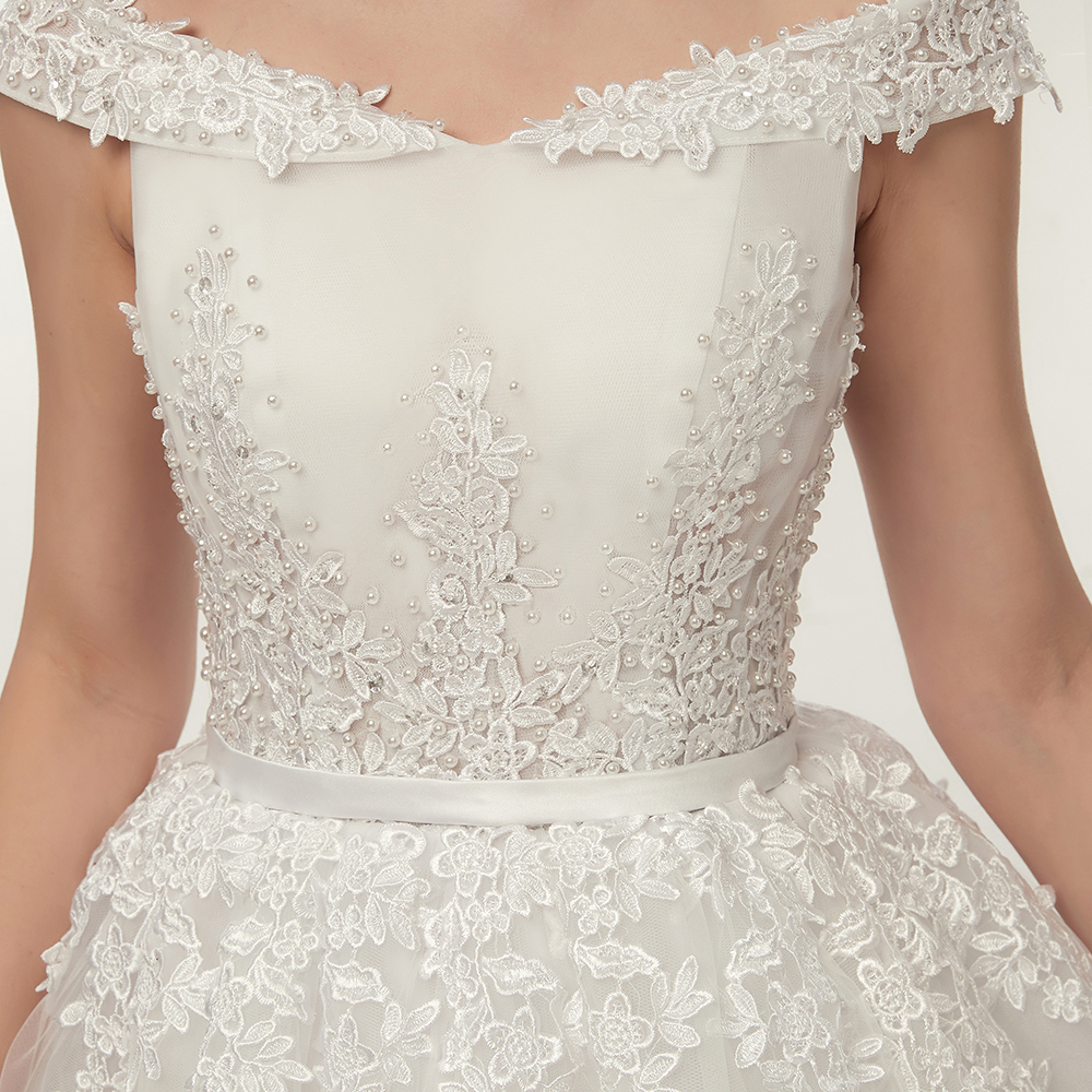 Image 4 - Fansmile Vestido de Noiva Vintage Lace Tulle Ball Wedding Dresses 2019 Plus Size Customized Bridal Gowns Free Shipping FSM 141F-in Wedding Dresses from Weddings & Events