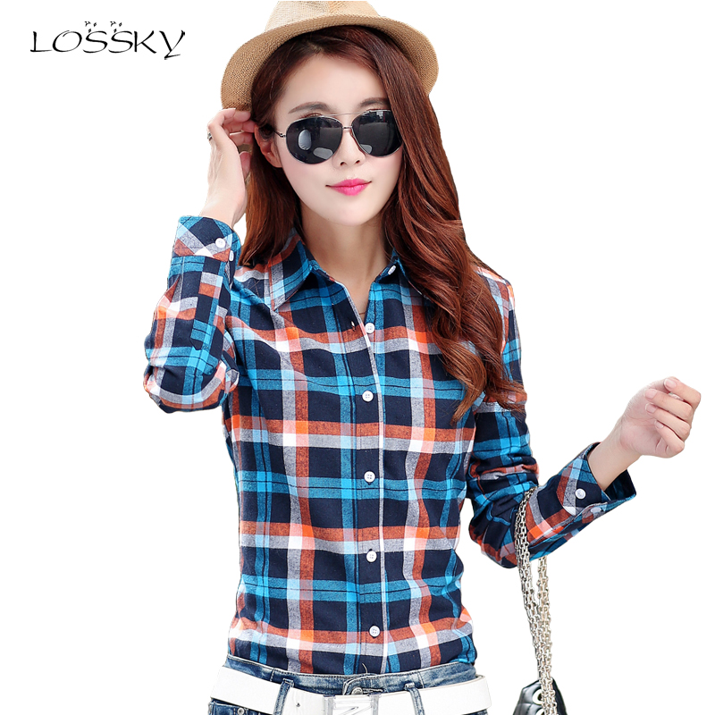 LOSSKY Autumn Women Fashion Plaid Cotton Shirt Female College Style Blouses Long Sleeve Flannel Shirts Plus Size Office Tops 5XL