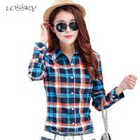 Losssky otoño mujer moda Camisa de algodón a cuadros mujer estilo universitario blusas de manga larga franela Camisas talla grande Oficina Tops 5XL