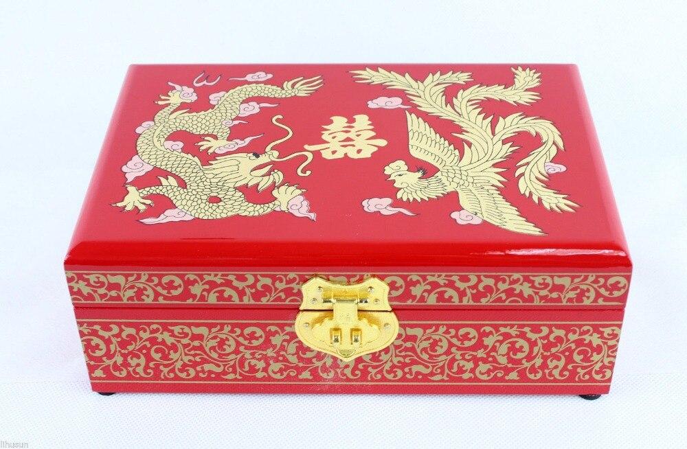 Chinese Handmade Classic Wooden Lacquerware Dragon Phoenix 2 Layer Jewelry Box