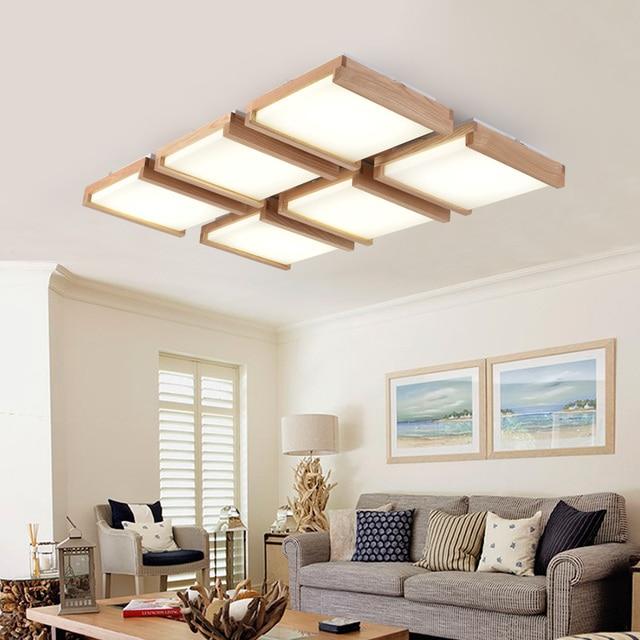 Holz rechteckige led deckenleuchte wohnzimmer holz log lampen ...