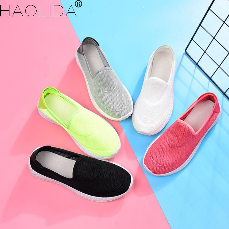 Brand Women Casual Shoes Slip-on Size 35-40 2018 Women's Shoes Summer Breathable Air Mesh Lazy Loafers Female Flats Girl's Shoes spring summer flock women flats shoes female round toe casual shoes lady slip on loafers shoes plus size 40 41 42 43 gh8