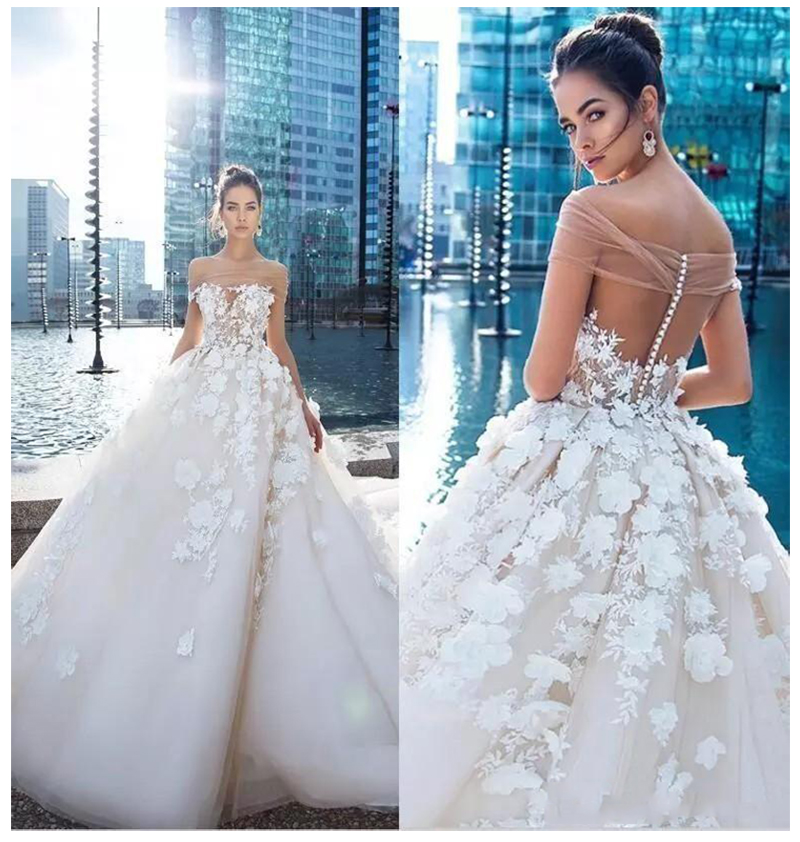 LORIE Princess Wedding Dress Elegant Appliqued With Flowers A-Line Tulle Backless Boho Wedding Gown Free Shipping Bride Dress