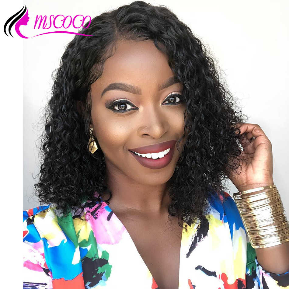 Short Lace Front Human Hair Wigs Kinky Curly Lace Front Wig Deep Part Short Curly Bob Wig Brazilian Remy Wigs Pre Plucked Mscoco