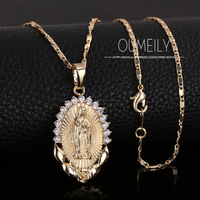 OUMEILY Fashion Jesus Necklace For Women Men Statement Vintage Pendant Holiday Christian African Beads Gold Color Accessories 4