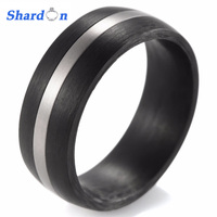 2016 New Black Solid Carbon Fiber Inlay AAA CZ Stone Engagement Ring Women S Carbon Fiber