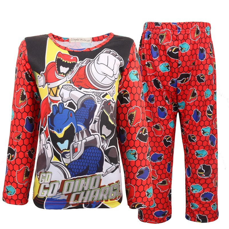 2019 Extraordinary Team Clothes Children's Suit Dinosaur Team Power Rangers Super Boys And Girls Pajamas COS Clothing