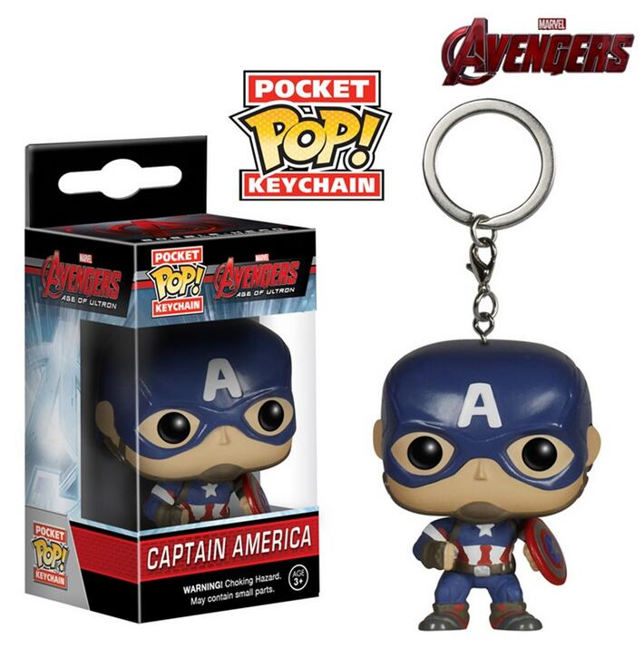 Marvel <font><b>Avengers</b></font> <font><b>2</b></font> Captain America FUNKO <font><b>POP</b></font> Pocket KeyRing Hanger Iron Man Hulk <font><b>Thor</b></font> PVC Action Toy <font><b>Figure</b></font> Collection Keychain